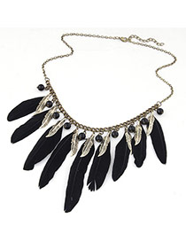 Personality Black Feather Pendant Decorated Simple Design