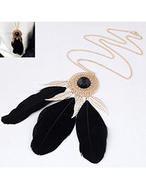 Personality Black Round Shape Decorated Feather Pendant Design Alloy Chains