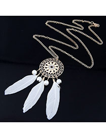 Personality White Round Shape Decorated Feather Pendant Design