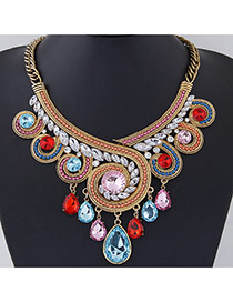Exaggerate Multi-color Diamond Decorated Geometrical Shape Design Alloy Bib Necklaces