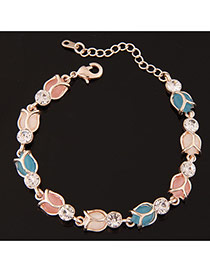 Sweet Multicolor Tulip Shape Decorated Simple Design  Alloy Korean Fashion Bracelet