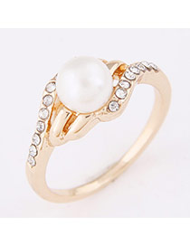 Personality Gold Color Pearl Decorated Simple Design  Alloy Korean Rings