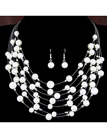 Fashion White Pearl Weave Decorated Multilayer Design