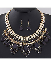 Fashion Black Water Drop Gemstone Decorated Multilayer Design  Alloy Jewelry Sets