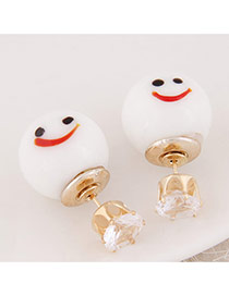 Cute White Smiling Face Pattern Decorated Round Shape Design  Alloy Stud Earrings