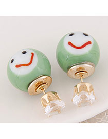 Cute Green Smiling Face Pattern Decorated Round Shape Design  Alloy Stud Earrings
