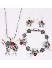 Cute Red Elephant Pendant Decorated Simple Design Alloy