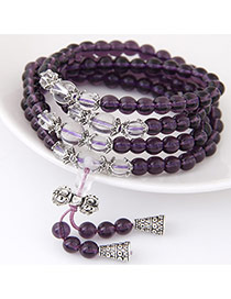 Fashion Purple Beads Decorated Multilayer Design