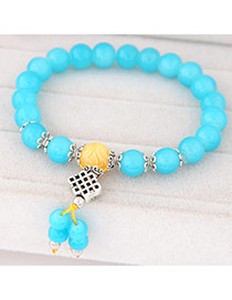 Sweet Blue Beads Decorated Simple Design  Rosin Korean Fashion Bracelet