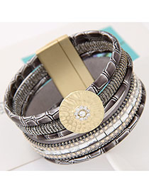 Fashion Gray Round Shape Decorated Multilayer Design  Alloy Korean Fashion Bracelet