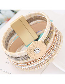 Fashion Apricot Round Shape Decorated Multilayer Design Alloy Korean Fashion Bracelet