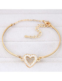 Trendy Gold Color Heart Decorated Simple Design  Alloy Fashion Bangles