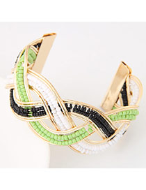 Bohemia Green Beads Decorated Weave Opening Design Alloy Fashion Bangles