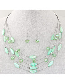 Bohemia Light Green Beads Decorated Multilayer Design Alloy Jewelry Sets