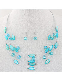 Bohemia Light Blue Beads Decorated Multilayer Design Alloy Jewelry Sets