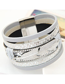 Fashion Gray Feather Shape Decorated Multilayer Design  Alloy Korean Fashion Bracelet