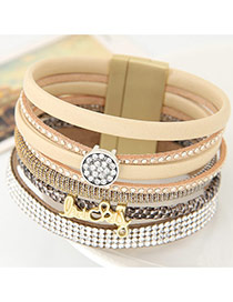 Fashion Beige Enlish Letter &diamond Decorated Multilayer Design
