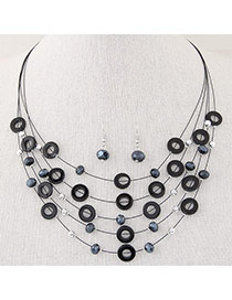 Elegant Black Diamond&circle Decorated Multilayer Design  Alloy Jewelry Sets