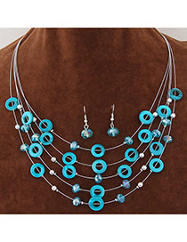 Elegant Blue Diamond&circle Decorated Multilayer Design  Alloy Jewelry Sets