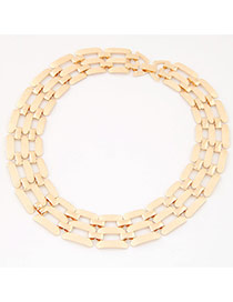 Exaggerate Gold Color Metal Chain Decorated Hollow Out Short Design Alloy Bib Necklaces