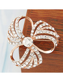Sweet Gold Color Diamond Decorated Hollow Out Clover Shape Design Alloy Korean Brooches