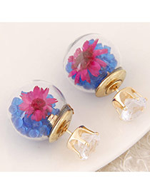 Sweet Blue+plum Red Diamond&flower Decoraed Simple Design