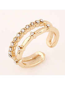 Sweet Gold Color Diamond &bamboo Joint Shape Decorated Opening Design  Alloy Korean Rings