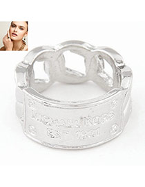 Fashion Silver Color Letter Pattern Decorated Hollow Out Design  Alloy Korean Rings