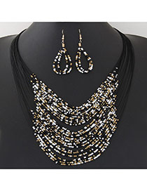 Bohemia Black Beads Weaving Decorated Multilayer Design  Alloy Jewelry Sets