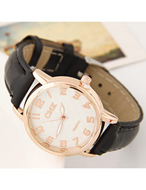 Succinct Black Letter Pattern Dial Plate Decorated Pure Color Design  Alloy Ladies Watches