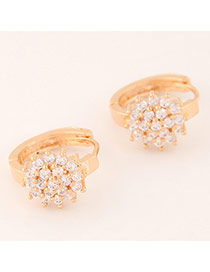 Sweet Gold Color Diamond Decorated Flower Shape Design Cuprum Korean Earrings