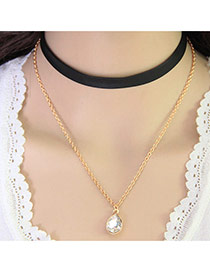 Fashion Black+gold Color Water Drop Pendant Decorated Double Layer Design