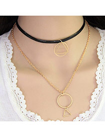 Fashion Black+gold Color Geometry Pendant Decorated Double Layer Design