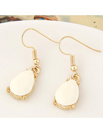 Sweet White Waterdrop Shape Gemstone Decorated Simple Design  Alloy Korean Earrings