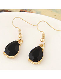 Sweet Black Waterdrop Shape Gemstone Decorated Simple Design  Alloy Korean Earrings
