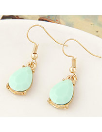 Sweet Light Green Waterdrop Shape Gemstone Decorated Simple Design  Alloy Korean Earrings