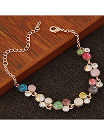 Personality Multicolor Round Gemstone Decorated Simple Design  Alloy Korean Fashion Bracelet