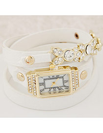 Elegant White Diamond&leaft Decorated Multilayer Design Alloy Ladies Watches