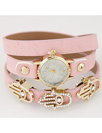 Fashion Pink Palm Shape Decorated Multilayer Design Alloy Ladies Watches