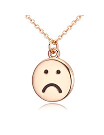 Elegant Champagne Gold Sad Face Round Pendant Decorated Simple Design Alloy Crystal Necklaces