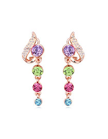 Elegant Multicolor Diamond Decorated Simple Design Alloy Crystal Earrings