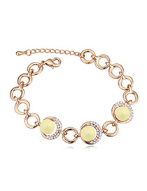 Elegant Champagne Gold+yellow Diamond&beads Decorated Circle Shape Design Alloy Crystal Bracelets