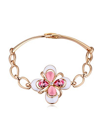 Elegant Plum Red Clover Shape Decorated Simple Design Alloy Crystal Bracelets
