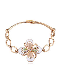 Elegant Luminous Green Clover Shape Decorated Simple Design Alloy Crystal Bracelets