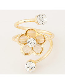 Sweet Gold Color Hollow Flower Decorated Multilayer Design Alloy Korean Rings