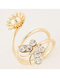 Sweet Gold Color Butterfly Decorated Multilayer Design Alloy Korean Rings