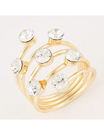 Sweet Gold Color Diamond Decorated Multilayer Design Alloy Korean Rings