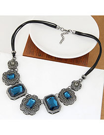 Luxury Blue Square Shape Decorated Hollow Out Design