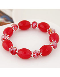 Sweet Red Oval Beads Decorated Simple Design Rhinestone Korean Fashion Bracelet