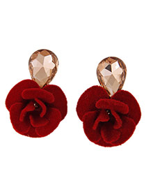Sweet Red Water Drop Diamond Decorated Flower Design Alloy Stud Earrings